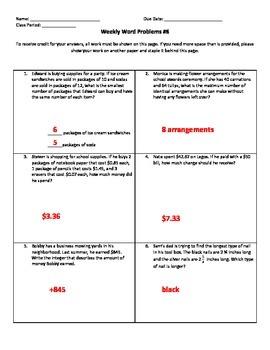 Weekly Word Problems #6 (Old TEKS)