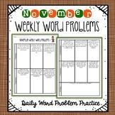 Weekly Word Problems November