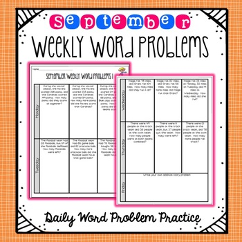 Weekly Word Problems September