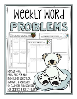 Weekly Word Problems for December, January, and February