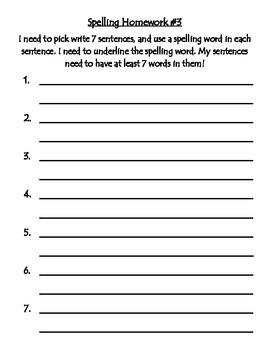 Weekly Word Study Homework