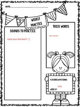 Weekly Word Study Reminders  EDITABLE