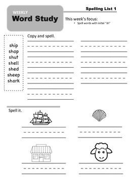 Weekly Word Study - Unit 2: Diagraphs and Blends