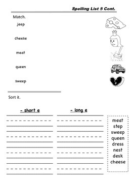 Weekly Word Study: Unit 3 - Long Vowels
