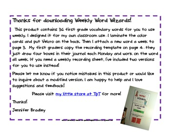 Weekly Word Wizards Vocabulary Word Set--You're set for the year!