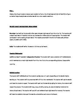 Weekly Word Work Plan