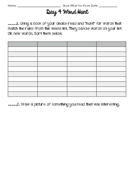 Weekly Word Work 6 Day Rotation Packet