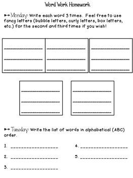 Weekly Word Work/Spelling Homework