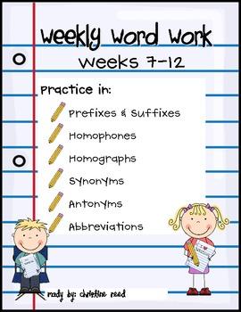 Weekly Word Work (Wks 7-12)