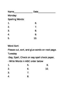 Weekly Word Work Worksheet
