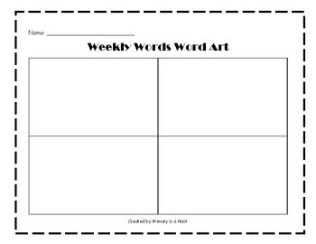 Weekly Words Word Art