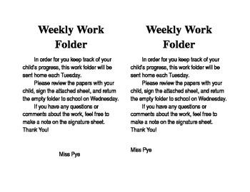 Weekly Work Folder Note