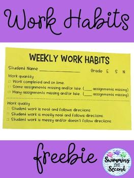 Weekly Work Habits freebie