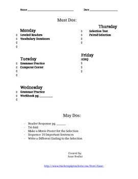 Weekly Work Plan for Reading Street
