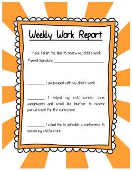Weekly Work Progress Report for Parents