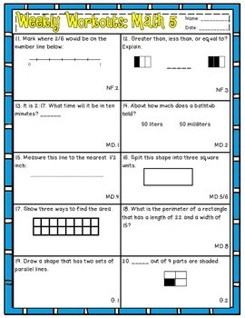 Weekly Workouts Math 3rd Grade Preview/Review Weekly Activities