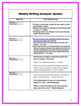 Weekly Writing Analysis: Quotes