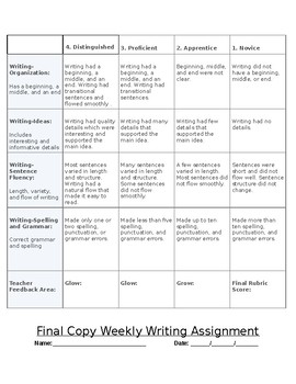 Weekly Writing Assignment
