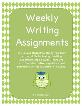 Weekly Writing Assignments