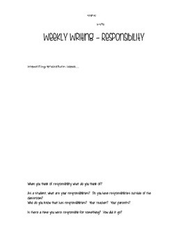 Weekly Writing - Responsibility - Freebie - Week Two!