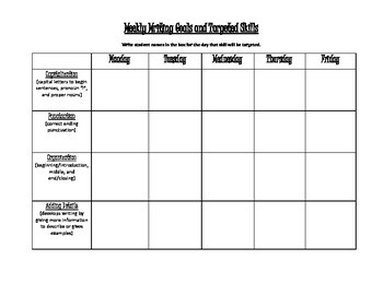 Weekly Writing Goals Planning Sheet
