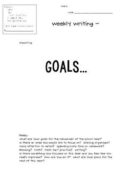 Weekly Writing - Goals - Updated!