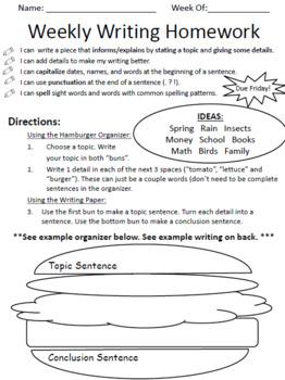 Weekly Writing Homework - Hamburger Paragraph, Web, Answering Questions