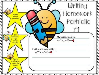 Yearlong Student Homework Writing Portfolio