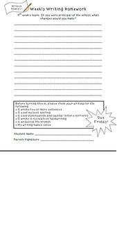 Weekly Writing Homework - editable