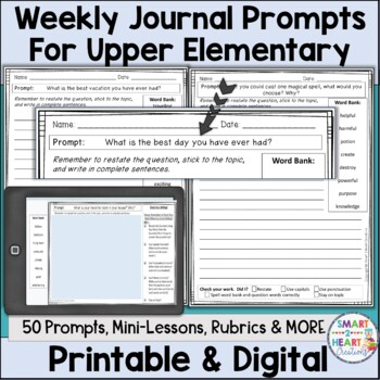 Weekly Writing Journal Prompts for Upper Elementary