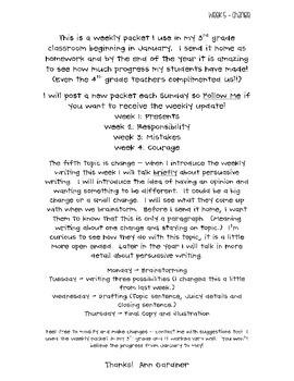 Weekly Writing - Just One Change - Week Five- Freebie!