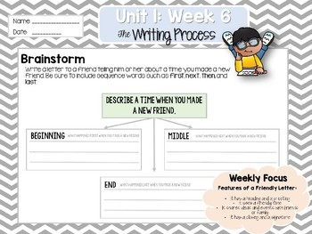 Weekly Writing Process (2nd Grade Reading Wonders) Unit 1: Week 6