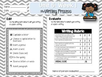 Weekly Writing Process (2nd Grade Reading Wonders) Unit 5: Week 1