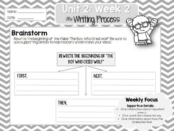 Weekly Writing Process (2nd Grade Wonders) Unit 2: Week 2