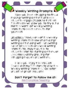 Weekly Writing Prompt Freebie