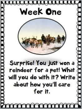 December Centers Weekly Writing Prompts ~Animal Theme~