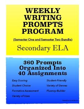 Weekly Writing Prompts Program (Bundle); Journal Prompts; Secondary ELA