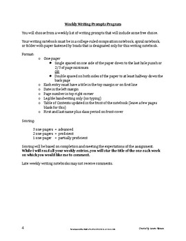Weekly Writing Prompts Program Semester Two; Journal Prompts; Secondary ELA