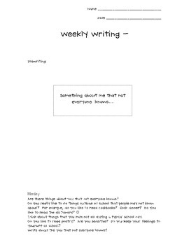 Weekly Writing - The You That Not Everyone Knows... - Week Nine - Freebie!