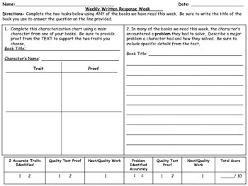 Weekly Written Response Prompts, Rubrics INCLUDED