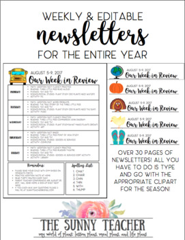 Weekly and Editable Newsletter - ENTIRE YEAR