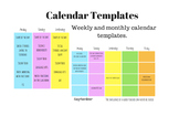 Weekly and Monthly Calendar Templates