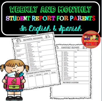 Weekly and Monthly Student Report in English and Spanish