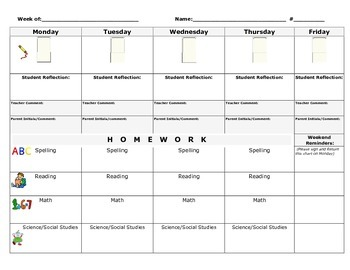 Weekly behavior and homework chart