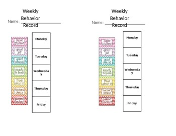 Weekly behavior chart
