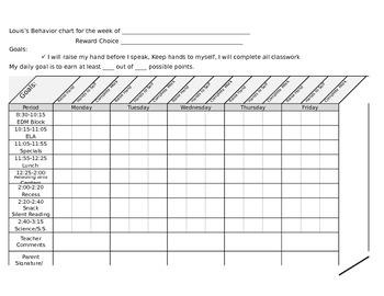 Weekly behavior chart with three goals