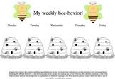 Weekly behavior sheet, bee theme