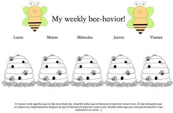 Weekly behavior sheet, bee theme, Spanish Version.