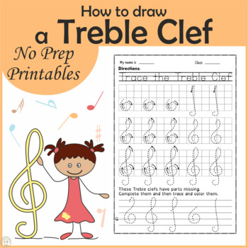 How to draw a Treble Clef {Weekly freebies}