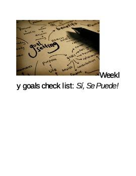 Weekly goals check list: Sí, Se Puede!